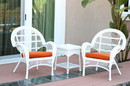Jeco W00209_2-CES016 3Pc Santa Maria White Wicker Chair Set - Orange Cushions