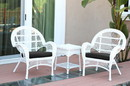 Jeco W00209_2-CES017 3Pc Santa Maria White Wicker Chair Set - Black Cushions