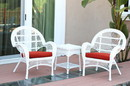 Jeco W00209_2-CES018 3Pc Santa Maria White Wicker Chair Set - Brick Red Cushions