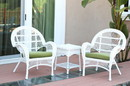 Jeco W00209_2-CES029 3Pc Santa Maria White Wicker Chair Set - Sage Green Cushions