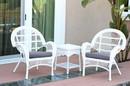 Jeco W00209_2-CES033 3Pc Santa Maria White Wicker Chair Set - Steel Blue Cushions