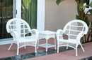 Jeco W00209_2-CES 3Pc Santa Maria White Wicker Chair Set Without Cushions
