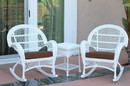 Jeco W00209_2-RCES007 3Pc Santa Maria White Rocker Wicker Chair Set - Brown Cushions