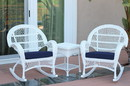 Jeco W00209_2-RCES011 3Pc Santa Maria White Rocker Wicker Chair Set - Midnight Blue Cushions