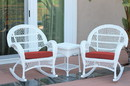 Jeco W00209_2-RCES018 3Pc Santa Maria White Rocker Wicker Chair Set - Brick Red Cushions