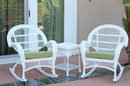Jeco W00209_2-RCES029 3Pc Santa Maria White Rocker Wicker Chair Set - Sage Green Cushions