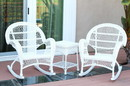 Jeco W00209_2-RCES 3Pc Santa Maria White Rocker Wicker Chair Set Without Cushion