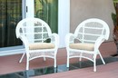 Jeco W00209-C_2-FS001-CS Santa Maria White Wicker Chair With Ivory Cushion - Set Of 2