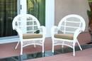 Jeco W00209-C_2-FS006-CS Santa Maria White Wicker Chair With Tan Cushion - Set Of 2