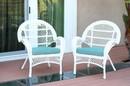 Jeco W00209-C_2-FS027-CS Santa Maria White Wicker Chair With Sky Blue Cushion - Set Of 2