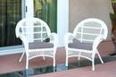 Jeco W00209-C_2-FS033-CS Santa Maria White Wicker Chair With Steel Blue Cushion - Set Of 2