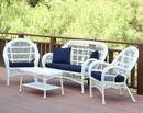 Jeco W00209-G-FS011 4Pc Santa Maria White Wicker Conversation Set - Midnight Blue Cushions