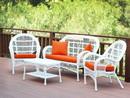 Jeco W00209-G-FS016 4Pc Santa Maria White Wicker Conversation Set - Orange Cushions