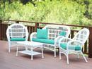 Jeco W00209-G-FS032 4Pc Santa Maria White Wicker Conversation Set - Turquoise Cushions