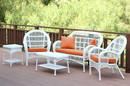 Jeco W00209-G-OT-FS016 5Pc Santa Maria White Wicker Conversation Set - Orange Cushion