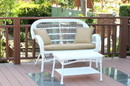 Jeco W00209-LCS006 Santa Maria White Wicker Patio Love Seat And Coffee Table Set - Tan Cushion