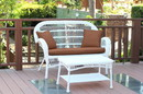 Jeco W00209-LCS007 Santa Maria White Wicker Patio Love Seat And Coffee Table Set - Brown Cushion