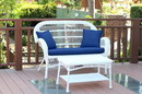 Jeco W00209-LCS011 Santa Maria White Wicker Patio Love Seat And Coffee Table Set - Midnight Blue Cushion