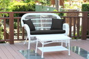 Jeco W00209-LCS017 Santa Maria White Wicker Patio Love Seat And Coffee Table Set - Black Cushion
