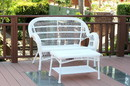 Jeco W00209-LCS Santa Maria White Wicker Patio Love Seat And Coffee Table Set Without Cushion