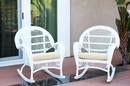 Jeco W00209-R_2-FS001-CS Santa Maria White Wicker Rocker Chair With Ivory Cushion - Set Of 2
