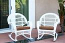 Jeco W00209-R_2-FS007-CS Santa Maria White Wicker Rocker Chair With Brown Cushion - Set Of 2