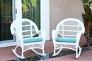 Jeco W00209-R_2-FS027-CS Santa Maria White Wicker Rocker Chair With Sky Blue Cushion - Set Of 2