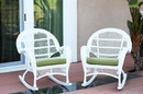 Jeco W00209-R_2-FS029-CS Santa Maria White Wicker Rocker Chair With Sage Green Cushion - Set Of 2
