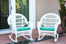 Jeco W00209-R_2-FS032-CS Santa Maria White Wicker Rocker Chair With Turquoise Cushion - Set Of 2