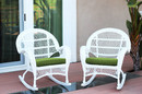 Jeco W00209-R_2-FS034-CS Santa Maria White Wicker Rocker Chair With Hunter Green Cushion - Set Of 2