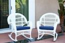 Jeco W00209-R_4-FS011-CS Santa Maria White Wicker Rocker Chair With Midnight Blue Cushion - Set Of 4