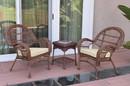 Jeco W00210_2-CES001 3Pc Santa Maria Honey Wicker Chair Set - Ivory Cushions