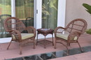Jeco W00210_2-CES006 3Pc Santa Maria Honey Wicker Chair Set - Tan Cushions