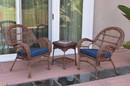Jeco W00210_2-CES011 3Pc Santa Maria Honey Wicker Chair Set - Midnight Blue Cushions