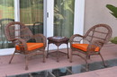 Jeco W00210_2-CES016 3Pc Santa Maria Honey Wicker Chair Set - Orange Cushions