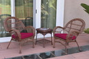Jeco W00210_2-CES030 3Pc Santa Maria Honey Wicker Chair Set - Red Cushions