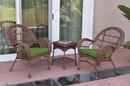 Jeco W00210_2-CES034 3Pc Santa Maria Honey Wicker Chair Set - Hunter Green Cushions