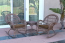 Jeco W00210_2-RCES007 3Pc Santa Maria Honey Rocker Wicker Chair Set - Brown Cushions