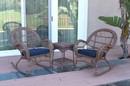 Jeco W00210_2-RCES011 3Pc Santa Maria Honey Rocker Wicker Chair Set - Midnight Blue Cushions