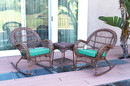 Jeco W00210_2-RCES032 3Pc Santa Maria Honey Rocker Wicker Chair Set - Turquoise Cushions