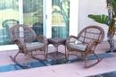 Jeco W00210_2-RCES033 3Pc Santa Maria Honey Rocker Wicker Chair Set - Steel Blue Cushions