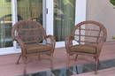 Jeco W00210-C_2-FS007 Santa Maria Honey Wicker Chair With Brown Cushions Set Of 2