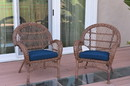 Jeco W00210-C_2-FS011 Santa Maria Honey Wicker Chair With Midnight Blue Cushions Set Of 2
