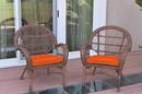 Jeco W00210-C_2-FS016 Santa Maria Honey Wicker Chair With Orange Cushions Set Of 2
