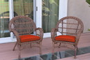 Jeco W00210-C_2-FS018 Santa Maria Honey Wicker Chair With Brick Red Cushions Set Of 2