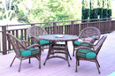 Jeco W00210-D-G-FS032 5Pc Santa Maria Honey Wicker Dining Set - Turquoise Cushions