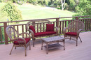 Jeco W00210-G-FS030 4Pc Santa Maria Honey Wicker Conversation Set - Red Cushions