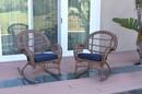 Jeco W00210-R_2-FS011 Santa Maria Honey Wicker Rocker Chair With Midnight Blue Cushion - Set Of 2
