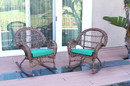 Jeco W00210-R_2-FS032 Santa Maria Honey Wicker Rocker Chair With Turquoise Cushion - Set Of 2