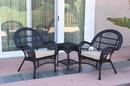 Jeco W00211_2-CES006 3Pc Santa Maria Black Wicker Chair Set - Tan Cushions